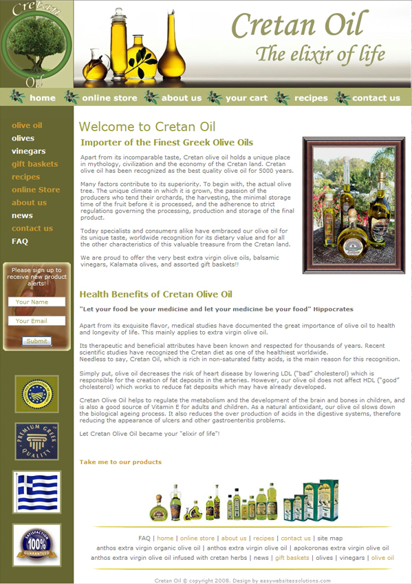 Cretan Oli - Easy Websites Solutions