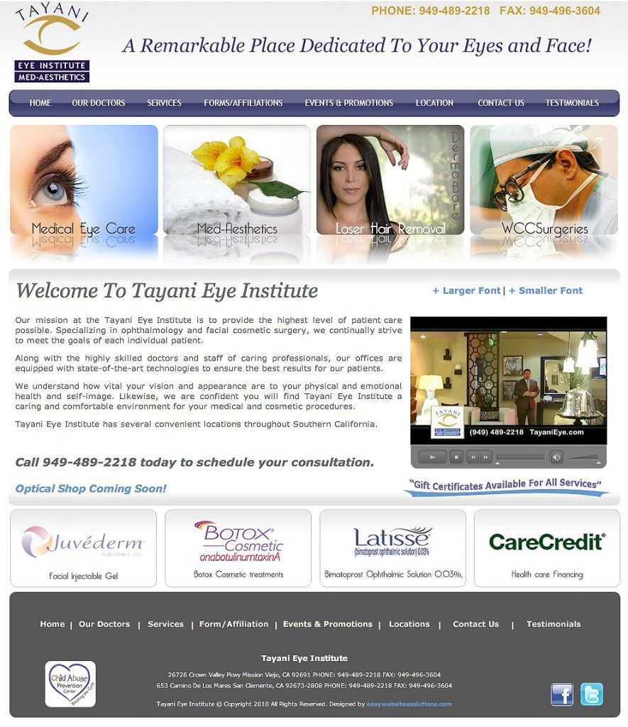 Tayan Eye Institute - Easy Websites Solutions