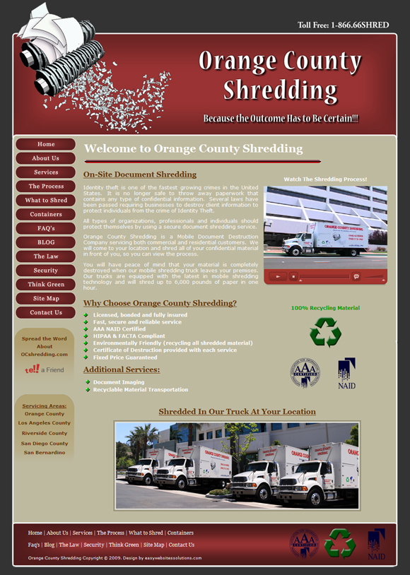 OC Shredding - Easy Websites Solutions